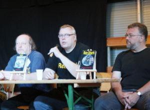 ColoniaCon: Beim Panel standen einige der Macher Rede und Antwort. Von links: Achim Mehnert, Ben B. Black, Andreas Zwengel.